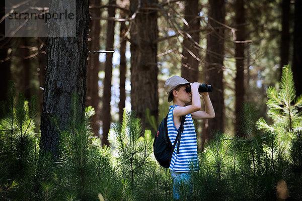 Junge schaut durch ein Fernglas im Wald.
