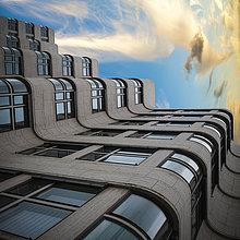 Deutschland, Berlin, Fassade Shell-Haus, Montage